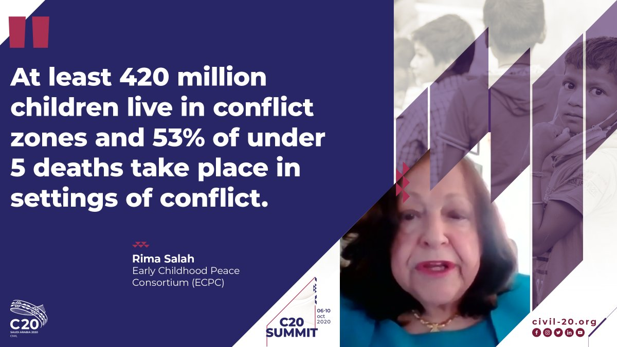 📢Many children are born only to die due to conflict! Watch this crucial and timely #C20Summit conversation on The Promise of Early Childhood Development TUNE IN LIVE 📺➡️vimeo.com/463874344