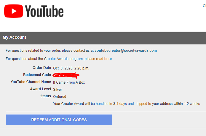 And 10 months later....HUZZAH! Finally receiving our Play Button \(^o^)/