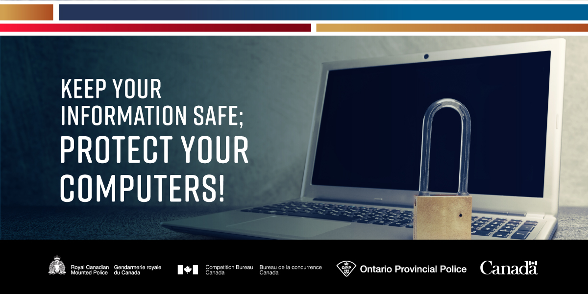 Our computers store a lot of information and can be targeted by hackers and scammers. Be wary of: •Internet pop-ups •Unsolicited emails and attachments •Strangers asking for remote access to your computer #GetCyberSafe by visiting: getcybersafe.gc.ca/en/cyber-secur…