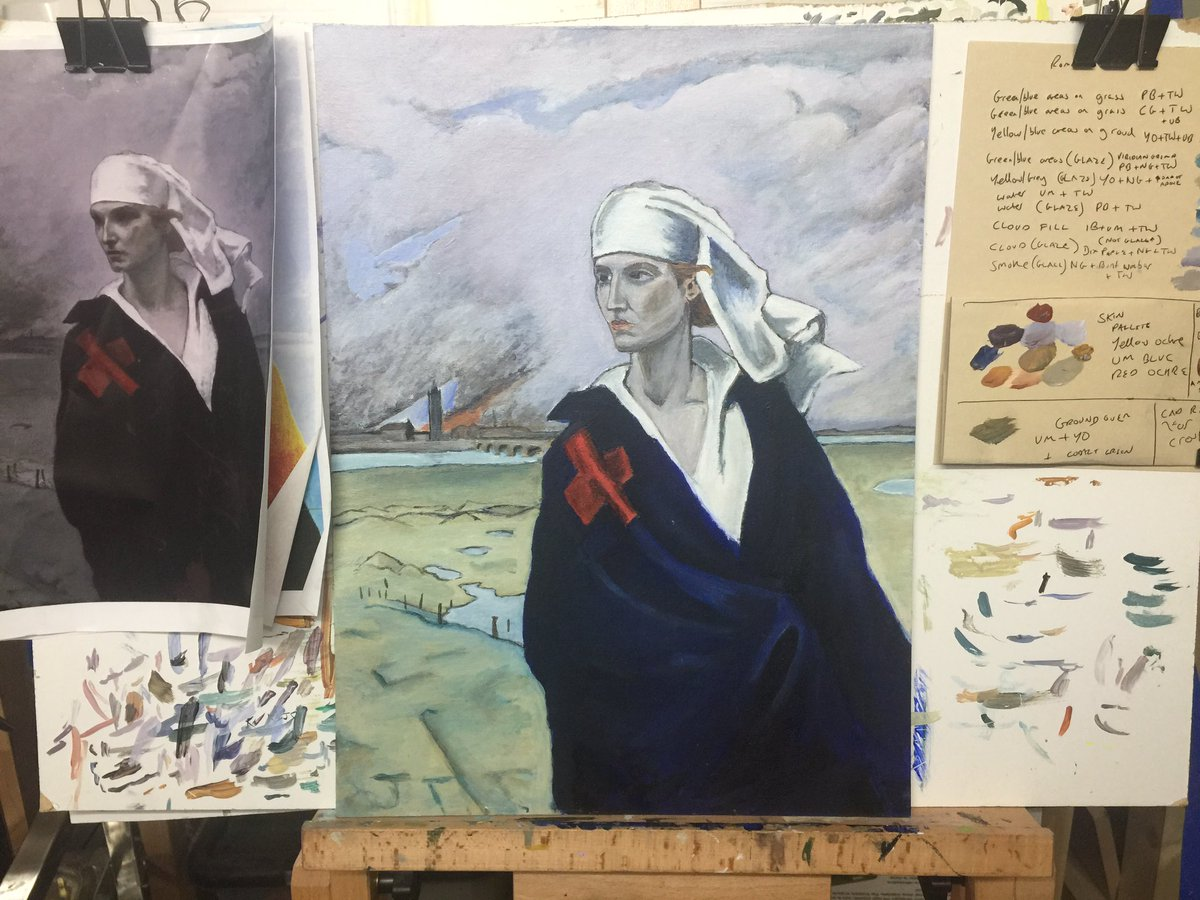 Painfully slow progress on my #romainebrooks copy . Building up very thin layers - however the payoff is worth it as the painting is really beginning to pop out #ampainting #paintinginprogress #wipart