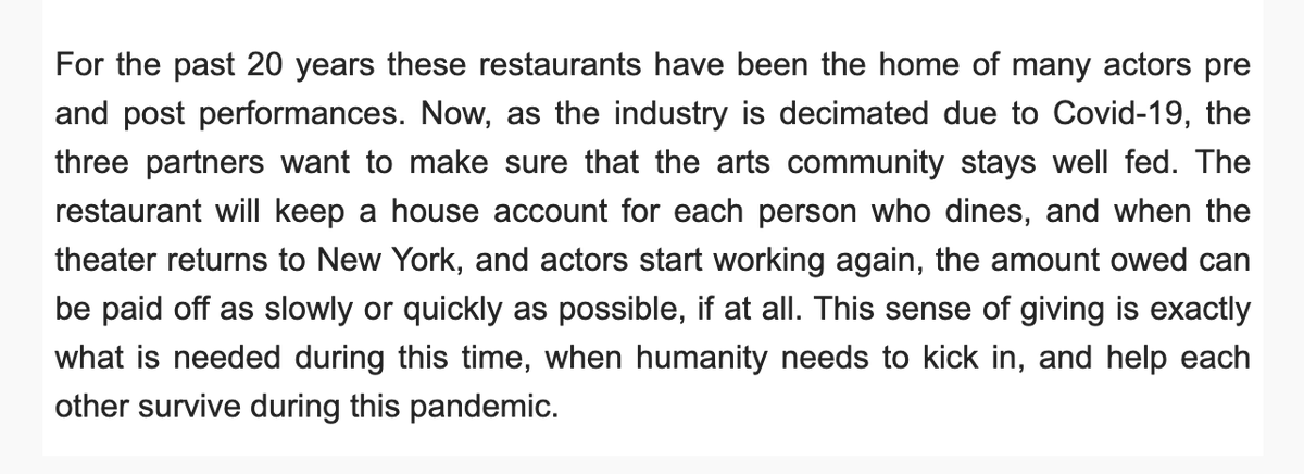Two of my favorite theatre haunts, Nizza and Marseille, are feeding Actors Equity members for free during the industry shutdown. Eat now and pay later if you can, I — 🥺😭❤️