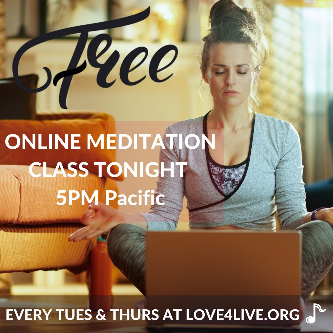 Join us tonight at 5P (Pacific) as we come together to learn and practice meditation. Come as you are. It's free. It's for you. Your heart matters. Link: love4live.org/freeclasses