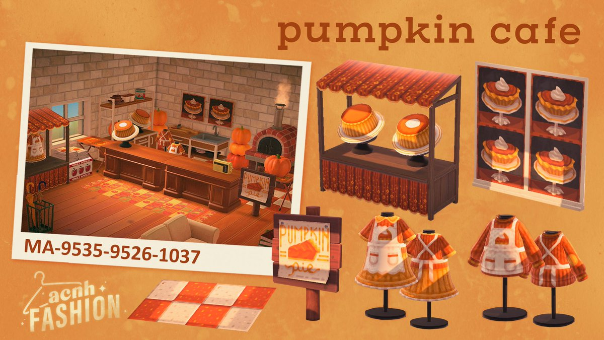 a new collection to launch your very own pumpkin pie pop-up cafe! 🎃✨ #ACNH #acnhdesign
