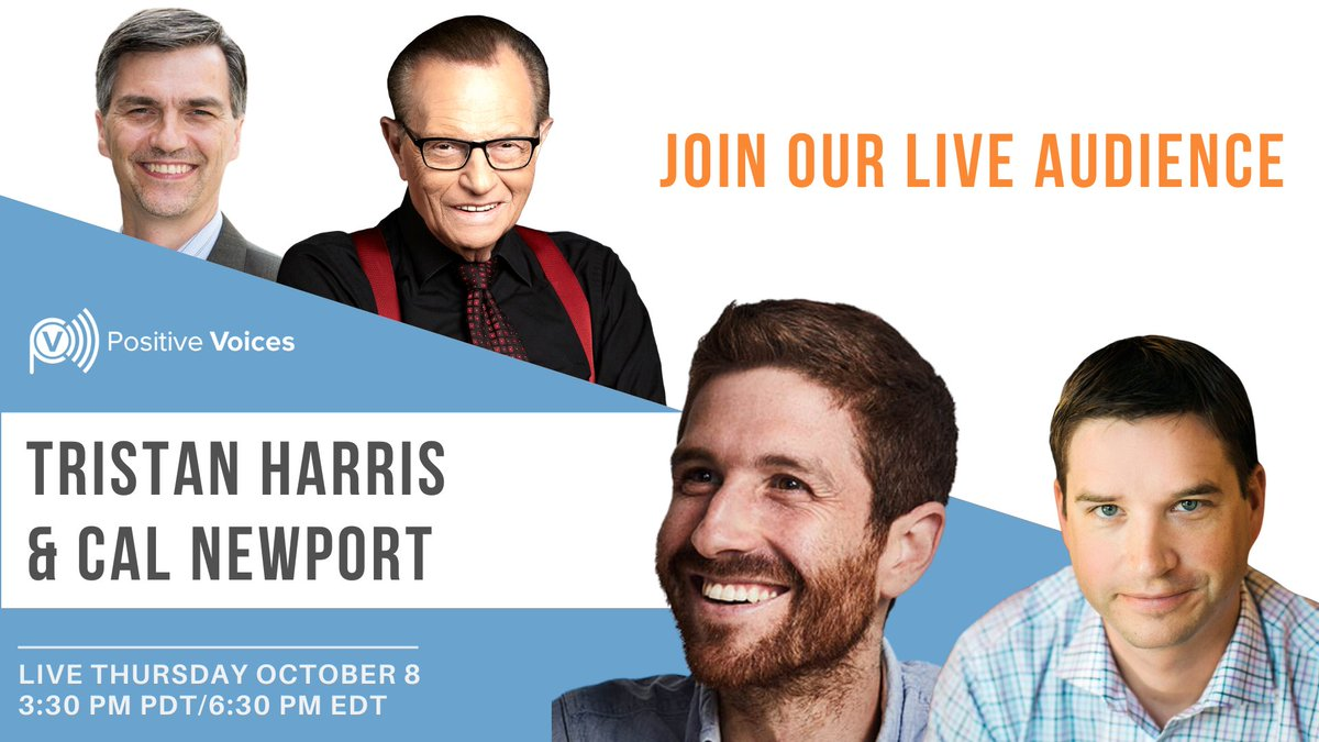 Join me today at 3:30 PM PDT for my #LIVE interview🎙️ with The Social Dilemma's Tristan Harris @tristanharris & Cal Newport, author of Digital Minimalism. RSVP now!  #dontmiss #technology #dontmiss #screentime @netflix  @SocialDilemma_