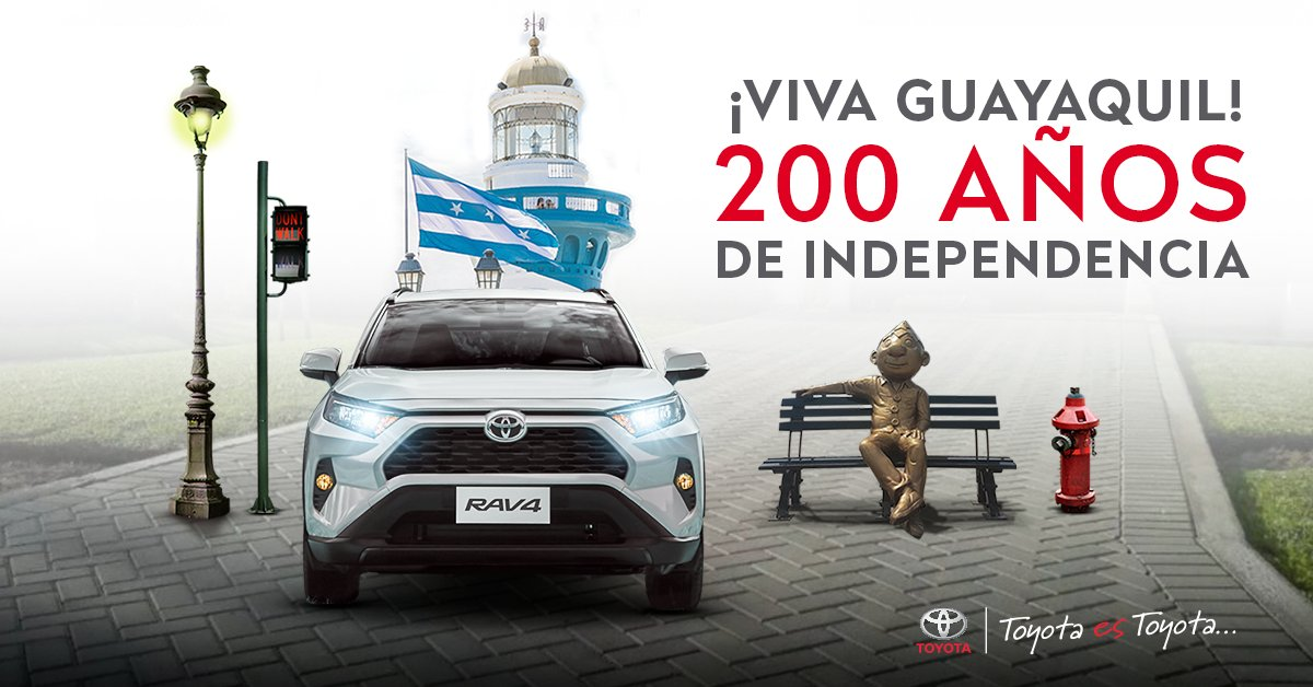 @ToyotaEcuador, saluda a la grandiosa Perla del Pacífico en sus 200 años de Independencia. Su maravillosa historia es parte del corazón de #Toyota . #GUAYAQUIL #ECUADOR #Toyota https://t.co/KDCaN939kk