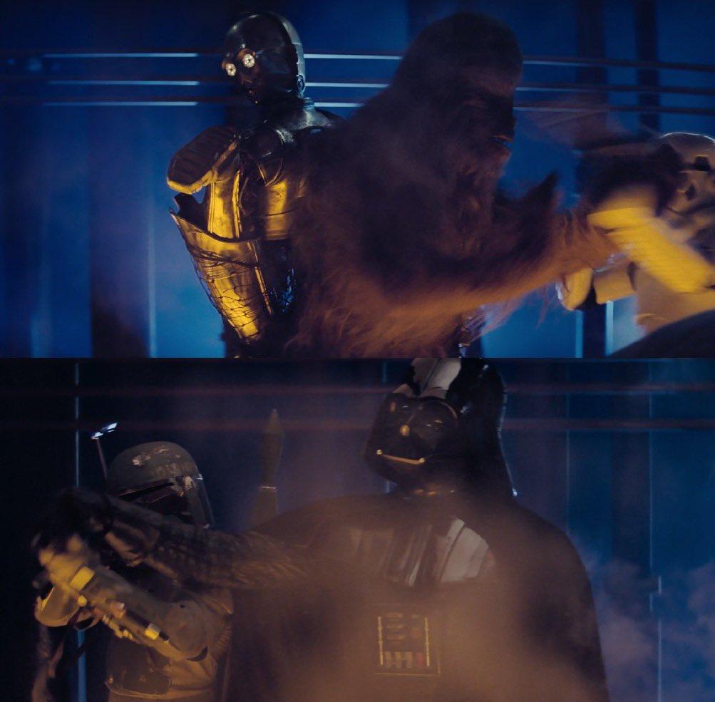 SombradeImperio, Ese momento cuando sabes que Darth Vader detiene a Boba Fett de dispararle a Chewie por que reconoce el viejo C3PO. 😉#DarthVader #StarWars #ElImperioContraataca https://t.co/w6d2Djankf