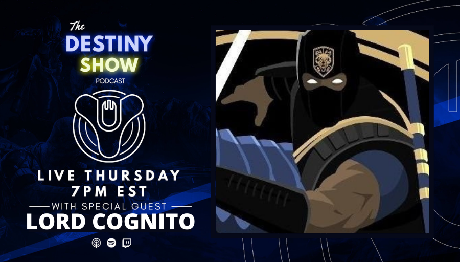 TheDestinyShow - Tonight on The Destiny Show we welcome @LordCognito to share his Destiny journey, discuss the latest Beyond Light reveals and the latest news from Bungie. We're live in 1 hour.   👉 Live on   See you star side. ✨