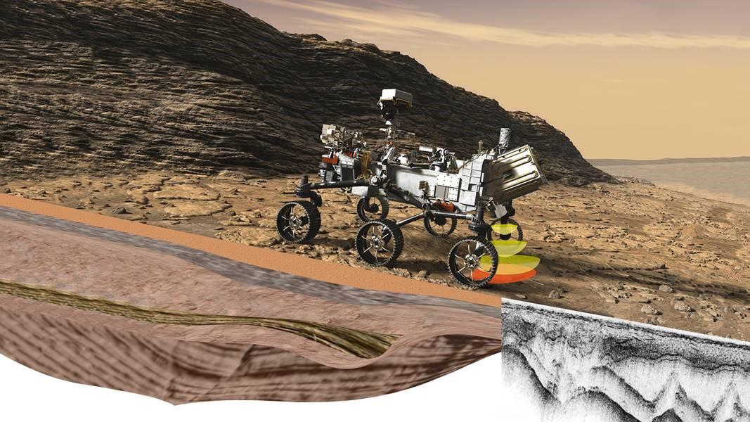 """Im getting closer to Mars. Once there, I will use my """"radar eyes"""" to see what's beneath the surface. My ground-penetrating radar can see at least 30 feet (10 meters) down to help search for signs of past microbial life. #CountdownToMars More on RIMFAX: go.nasa.gov/30Np7MD"""