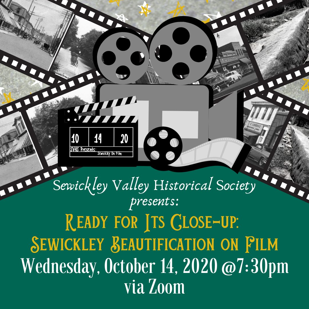 Less than one week away!  Join #SVHS Wed. 10/24/2020 @ 7:30 PM on Zoom for the next program in our 2020-2021 lecture series. Visit our website for more info on this exciting presentation.   #SewickleyValleyHistory #Films #CollectionsAtSVHS #AlrightMrDeMilleImReadyForMyCloseup https://t.co/xPBXhELW0F