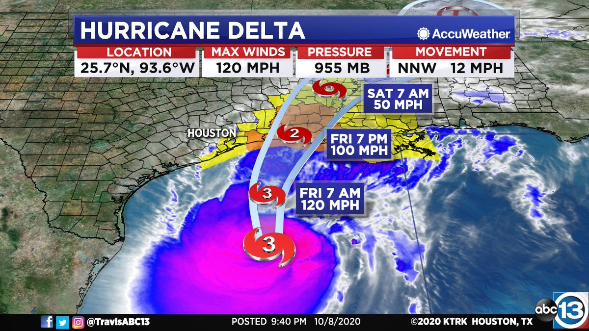 10PM #DELTA UPDATE: Hurricane Hunters find Delta a little stronger and continuing the north turn. No meaningful changes to the track nor to the warnings. It will be a windy and wet Friday for many of us Southeast Texas. More on local impacts here: https://t.co/ePxLa9kJXV https://t.co/8vJ6iAg9fp