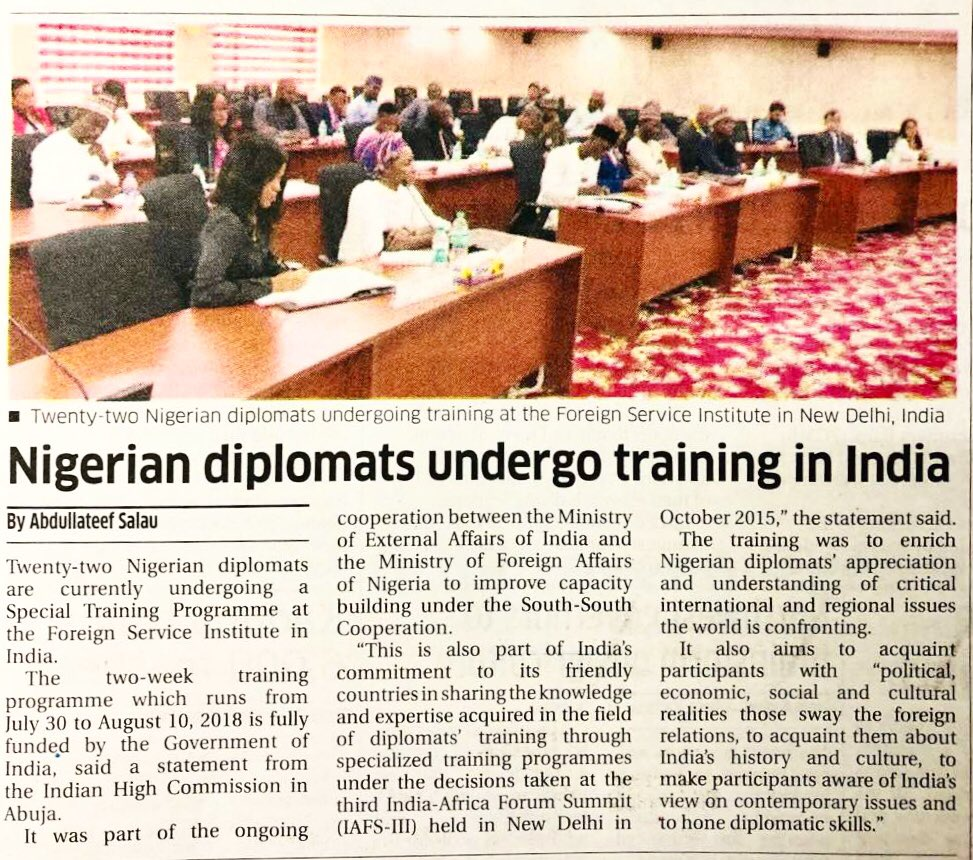 On #IFS Day today, we also thank young diplomats @Tejeswargarika and @rachitrawatifs for their important contribution, and the 22 young diplomats of @NigeriaMFA and 7 of @BeninDiplomatie for building bridges of friendship during their @SSIFS_MEA training in 2018/2019.  @MEAIndia https://t.co/ai3Rei0zuB