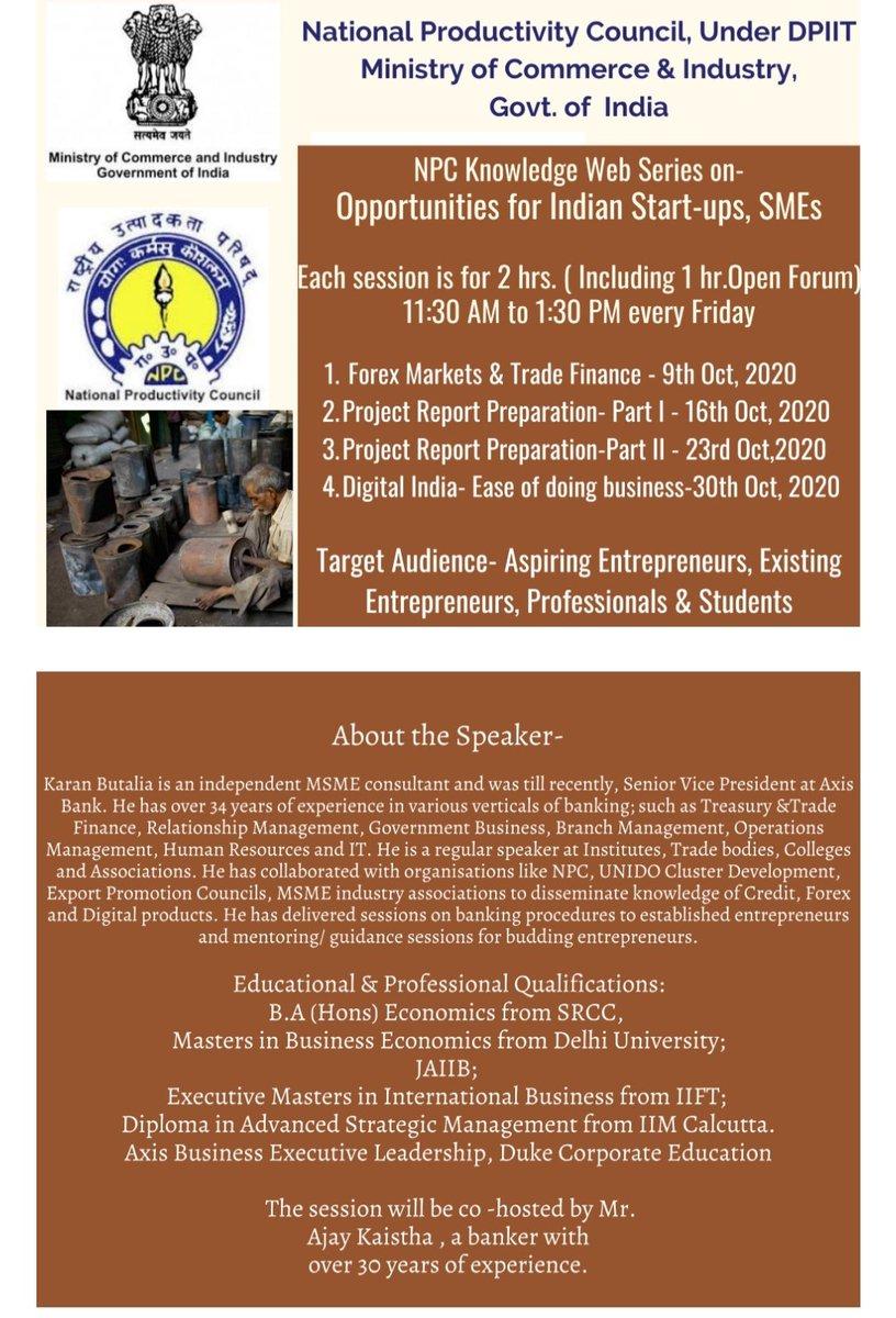 "Starting today at 11:30 AM NPC India knowledge web series on "" Opportunities for Indian Start-ups & SMEs.  Register now: https://t.co/20B9HTtuXi   #npcindia #npc #startup #founders #entrepreneur #entrepreneurship #msme #sme #industry https://t.co/0ebRtRU3aH"