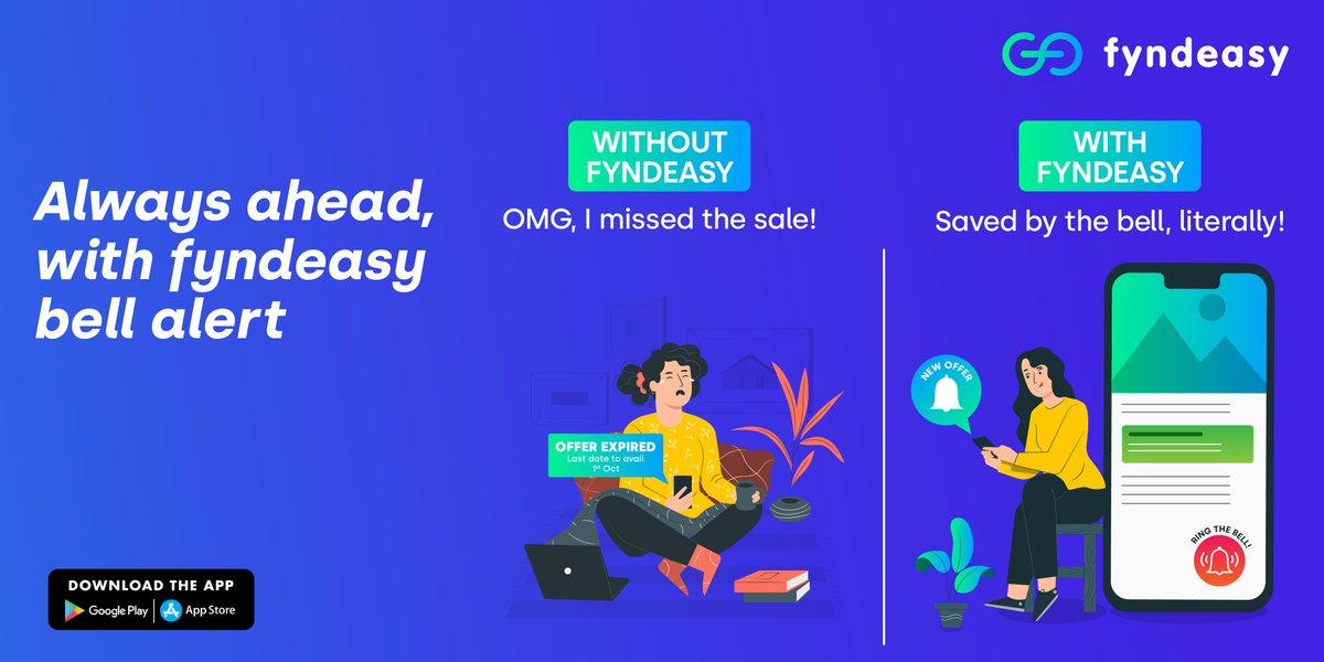 With fyndeasy, you never miss out on great deals and offers at your favourite stores with the bell alert feature and make incredible savings. Stay ahead, Shop smart!  #fyndeasy #fyndeasyapp #discounts #savings #downloadapp #playstore #smartshopper #localdiscoveryapp #shopping https://t.co/rTmuFy3rb0