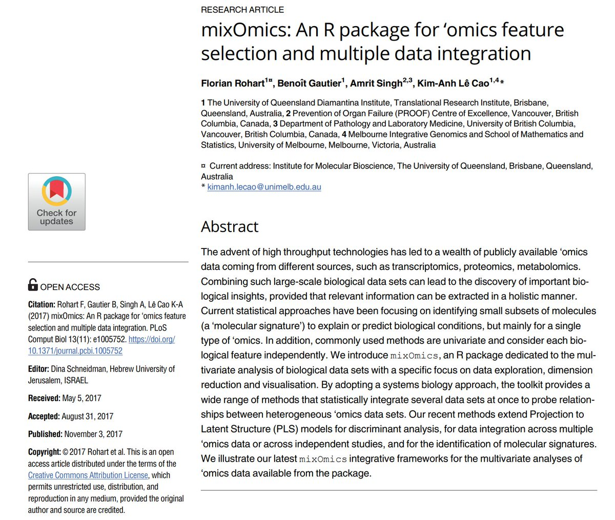 """[#FridayWiMLDSPaper 📜 curated by @lrnt_chloe] """"mixOmics: An R package for 'omics feature selection and multiple data integration"""" by Florian Rohart, Benoît Gautier, @asingh_22g, @mixOmics_team 🔗  #WiMLDSParis #WiMLDS #rstats"""