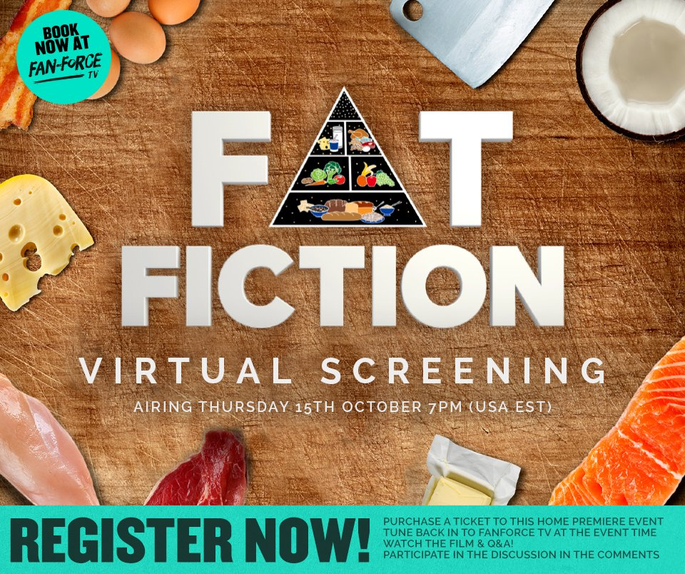 Join us tomorrow, 7p ET: virtual screening of Fat Fiction followed by LIVE Q&A w/@bigfatsurprise @jonnybowden @bschermd +@DougieReynolds  Also chance to win amazing low-carb products generously donated by @rosettesmix + @lovegoodfats  Tickets here ($7.99): https://t.co/EBtkTgd91O https://t.co/WS1EZvc06c
