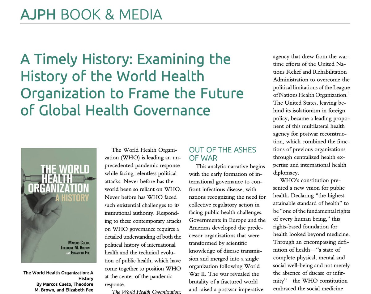 """""""The World Health Organization: A History"""" provides the definitive analysis of @WHO's turbulent political #History at the forefront of #GlobalHealth. Read our review in @AMJPublicHealth, examining WHO's evolving leadership in #GlobalHealthGovernance. https://t.co/eIhbj16NuY https://t.co/COO8on6VnI"""