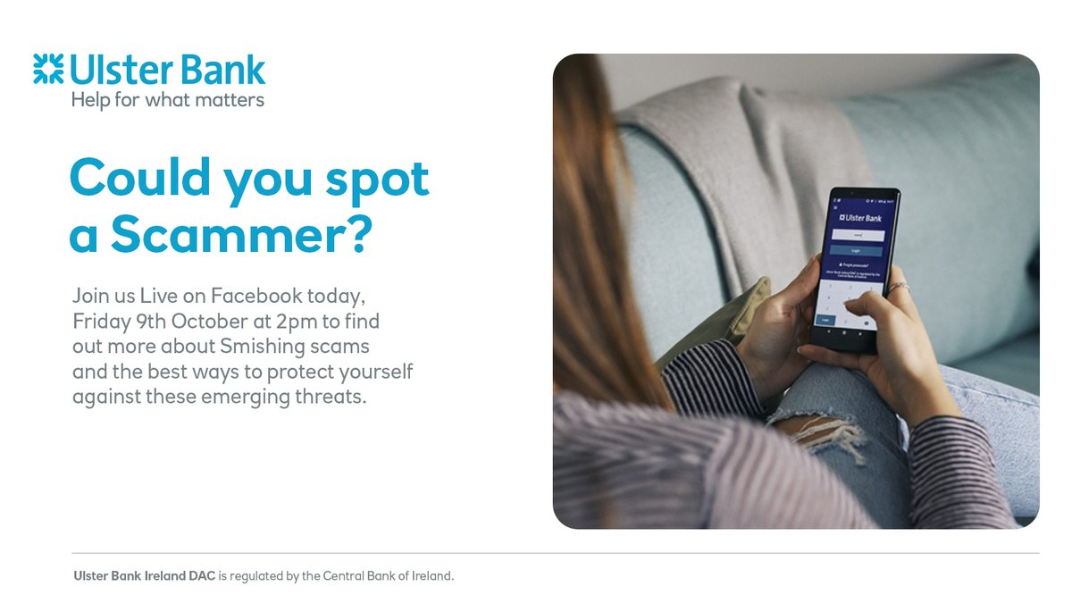 Don't miss our Facebook Live event TODAY, FRIDAY 9th October at 2pm to find out about the emerging threats of Smishing scams and how to keep your money and identity safe. https://t.co/HiTzHFqJLG