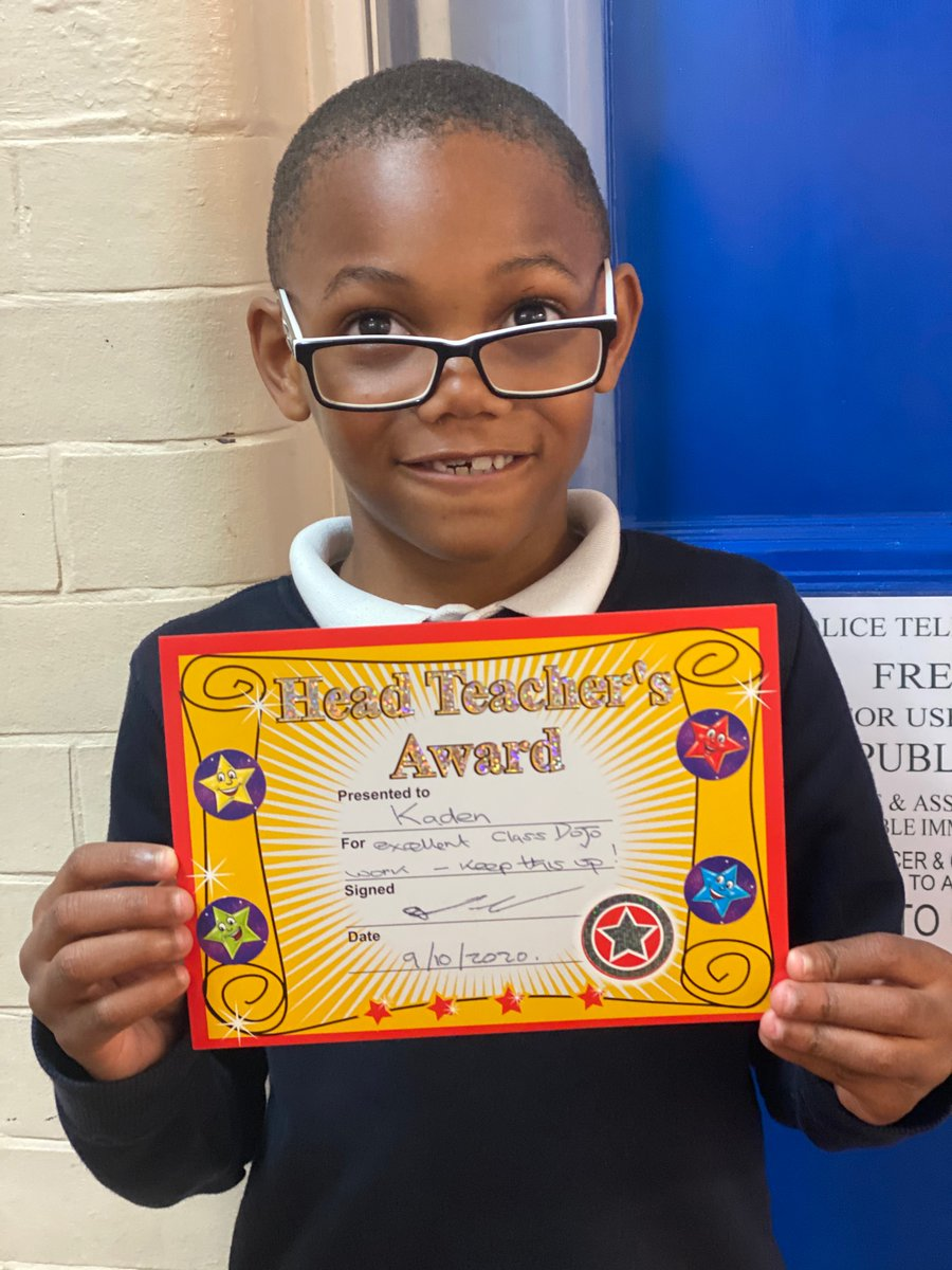 Headteacher award this week went to Kaden in year 2. Well done much deserved!