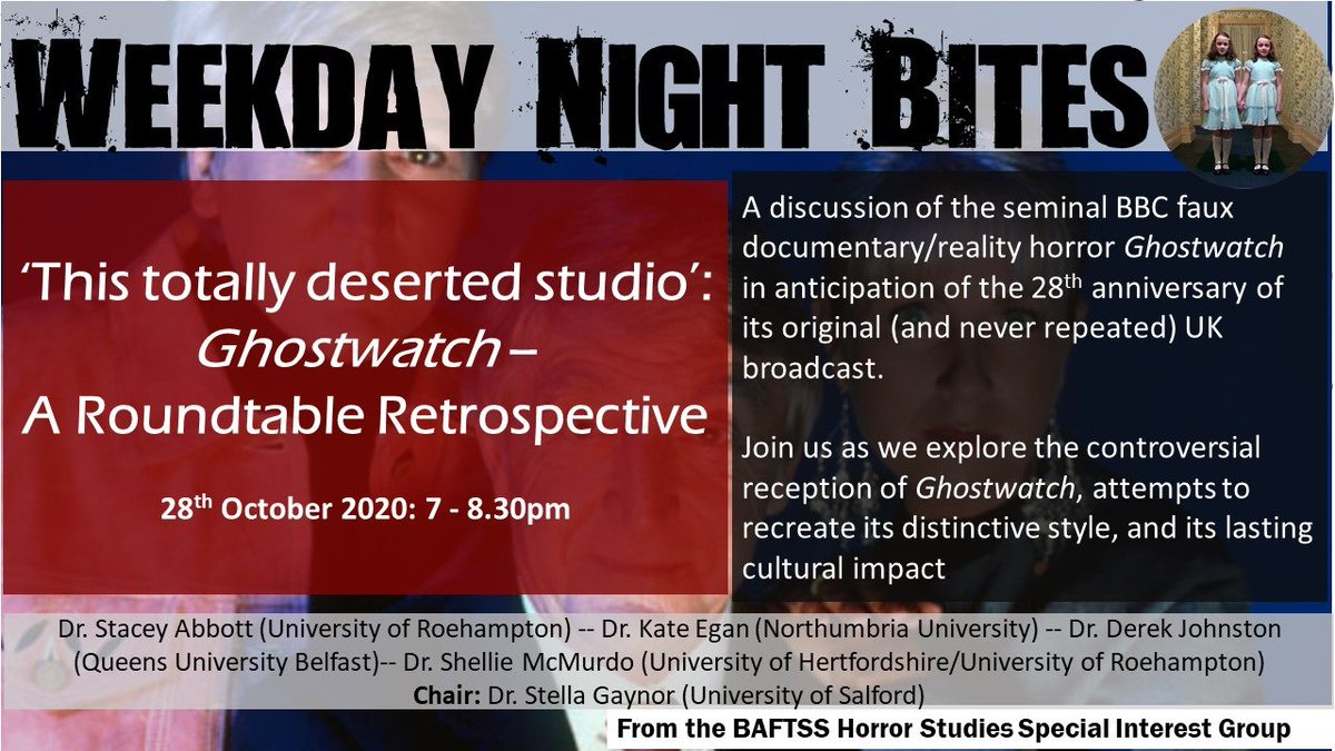 Registration for our second event is now live! Join us for a Halloween week panel on Ghostwatch with @StaceyAbbottRU @kte75 @drdjohnston @horrorshow___ @StellaGaynor Register here: forms.office.com/Pages/Response…