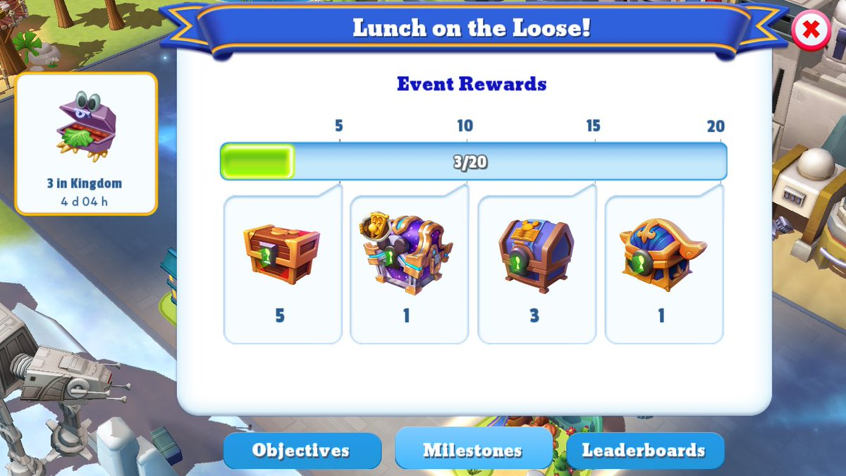 Not so doing well with the Lunch in the Loose event because I don't have any Alice in Wonderland characters. My guess is I will only be able to reach 12 on the milestones, 15 if lucky. Not really expecting to get that sapphire chest. 🤷♀️ #DisneyMagicKingdoms https://t.co/FSOxgrayfZ