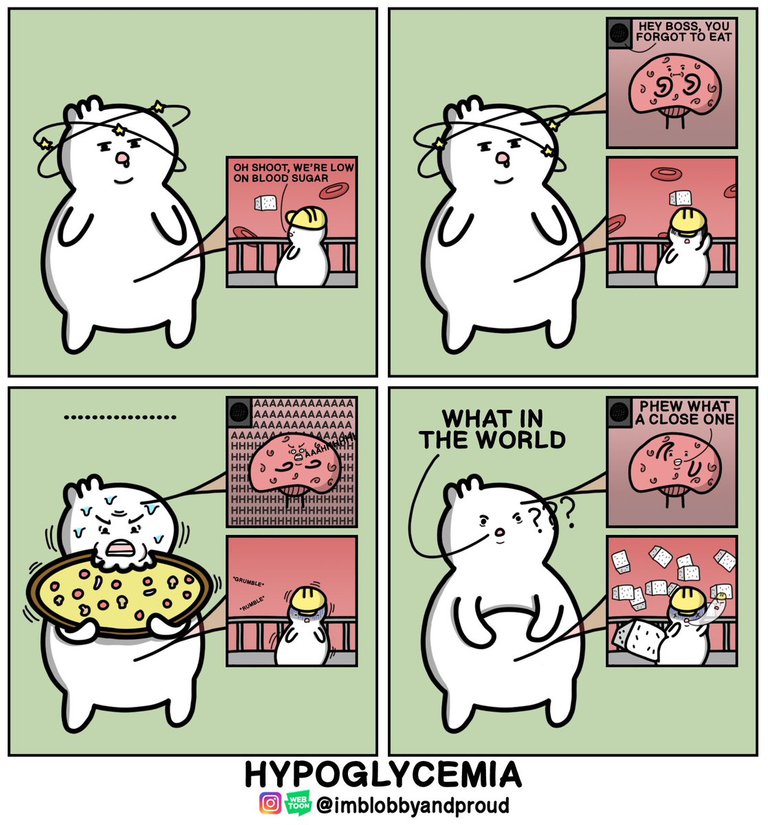 Imblobbyandproud On Twitter I Get Hypoglycemia So Easily Q Q Which Makes For The Perfect Comic For Day 9 Prompt Of Comictober Sugar Comictober2020 Comictober Comics Webcomics Funny Meme Humor Lmao Hypoglycemia Food