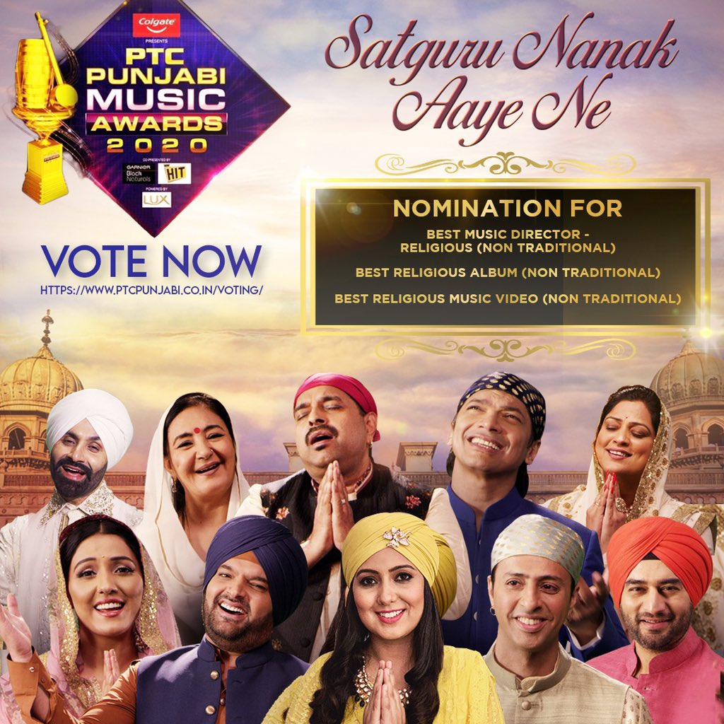 """""""Satguru Nanak Aaye Ne"""" has been nominated for the PTC Punjabi Music Awards 2020 in 3 categories!  Thankful to everyone involved in this shabad 🙏🏼 Pls show your support by voting for us here👉🏼 https://t.co/9mJ50sPZs5  #550yearsofgurunanakdevji https://t.co/GbC2p8C57B"""