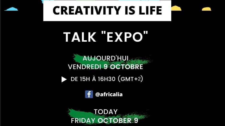 📣 Rendez-vous cet après-midi à 15h (GMT+2) ⏰ pour le premier TALK vidéo #CreativityisLife en ligne en direct de la page Facebook d'Africalia !  ➡️ https://t.co/P1inUyLmNj https://t.co/up3NRI0nfD