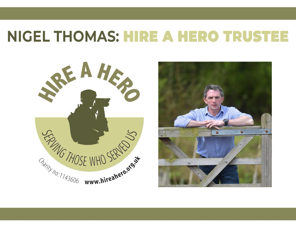 We are delighted to be able to announce Hire a Hero's new Trustee; Nigel Thomas.    For more information about Nigel visit: https://t.co/btIKZ7zOhn   #servingthosewhoservedus #charity #trustee https://t.co/ulBZVRGKuO