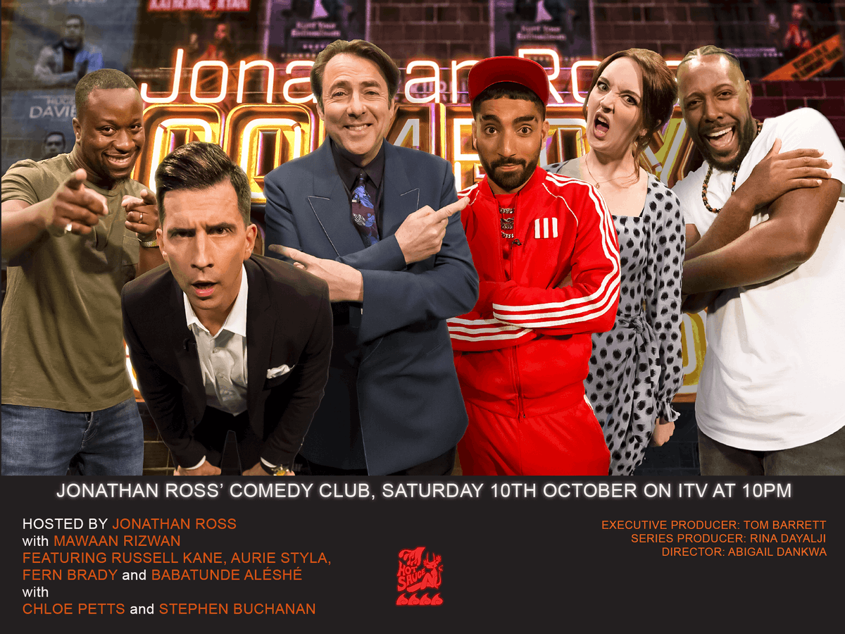 For one final time, dont forget to tune in to @ITV tomorrow night at 10pm for #jonathanrosscomedyclub , with more fantastic co-hosting from @MawaanR ! @JRossComedyClub