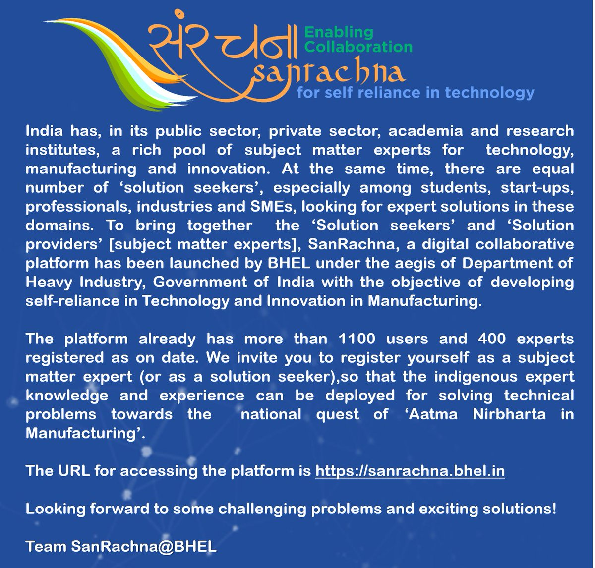 #SanRachna for self reliance in technology @heindustry   #bhel  @PrakashJavdekar @arjunrammeghwal @DPE_GoI @PIB_India @mygovindia https://t.co/xCenHRRLD1