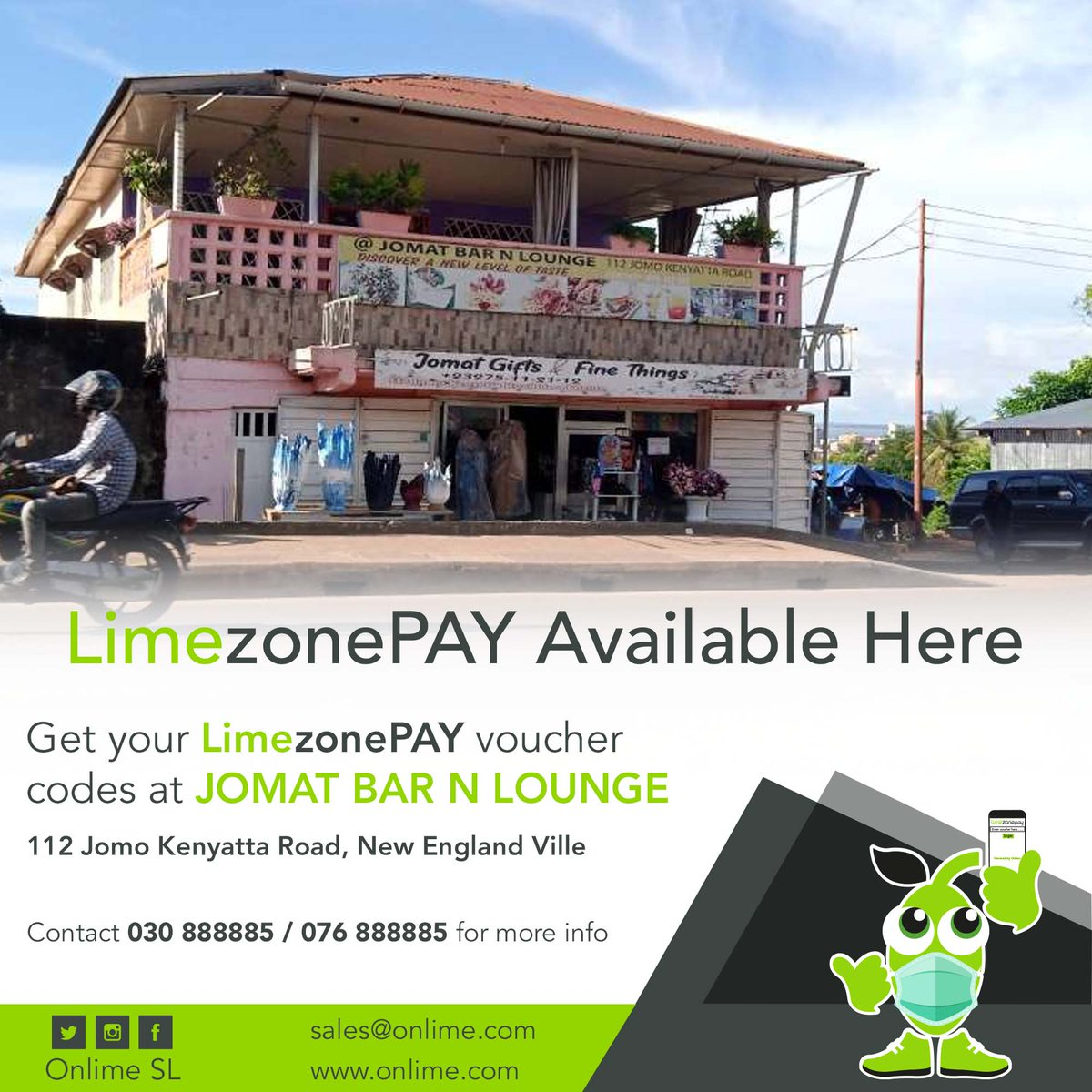 Your LimezonePAY Voucher codes are Available @ Jomat Bar N Lounge, 112 Jomo Kenyatta Road. contact +23230888885/+23276888885 for more info. #StayConnected #StaySafe #LimezonePAY #SuperfastInternet #ABundleOfCheapData https://t.co/1BNTx8V5Cc