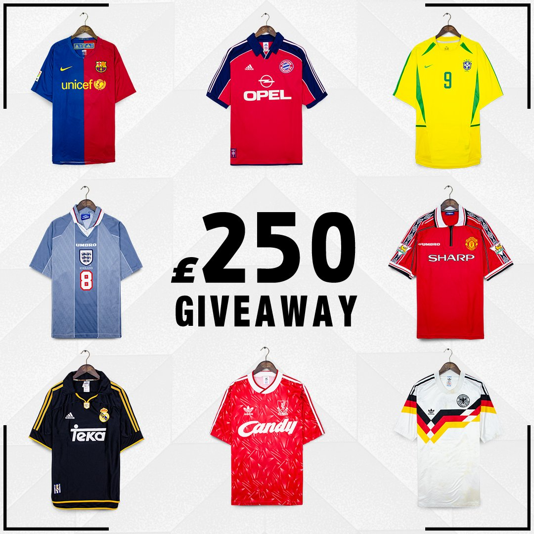 We're giving away £250 website credit!  To Enter 👇 1. Retweet this post 2. Follow @classicshirts 3. Comment #ClassicFootballShirts