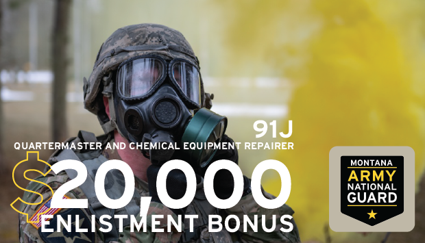 The Montana Army National Guard is full of unique opportunities that give Soldiers experience in a variety of fields.  A position as a 91J is perfect for anyone looking to expand their horizons and have access to our $20,000 bonus!  For more info visit