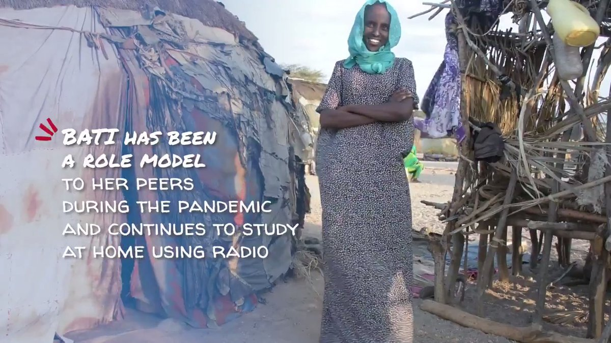 """When I finish my school I want to be a nurse so that I can come to my community & help them.""  #COVID19 didn't stop Bati from Kenya to keep learning through the radio.   Be inspired by her willpower to make a change.    #DayOfTheGirl │ #LearningNeverStops"