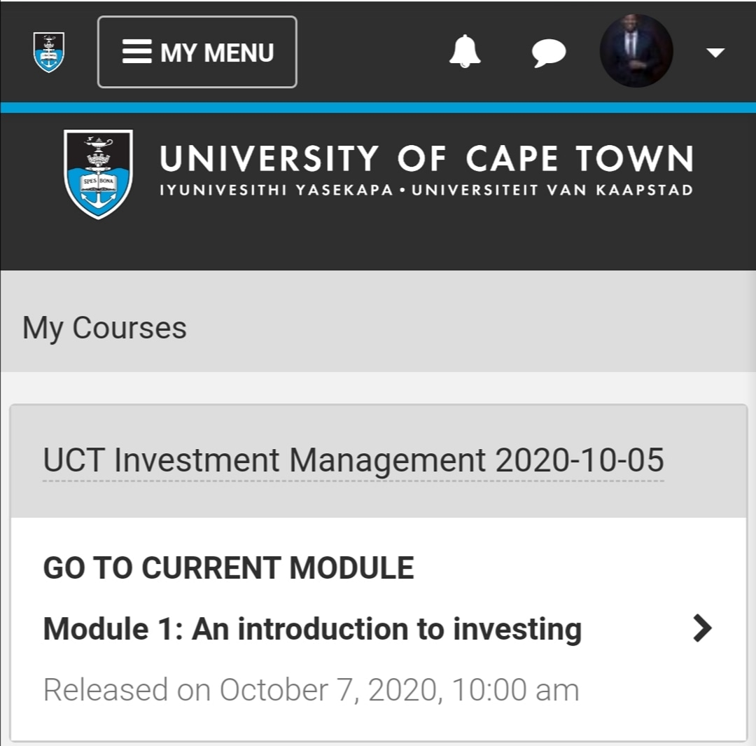 After successfully completing my UCT Property development & Investment course as well as Tax Law with @getsmarter I've just enrolled for a UCT Investment Management Course and I'm looking forward to it. https://t.co/we8YFZkxCj