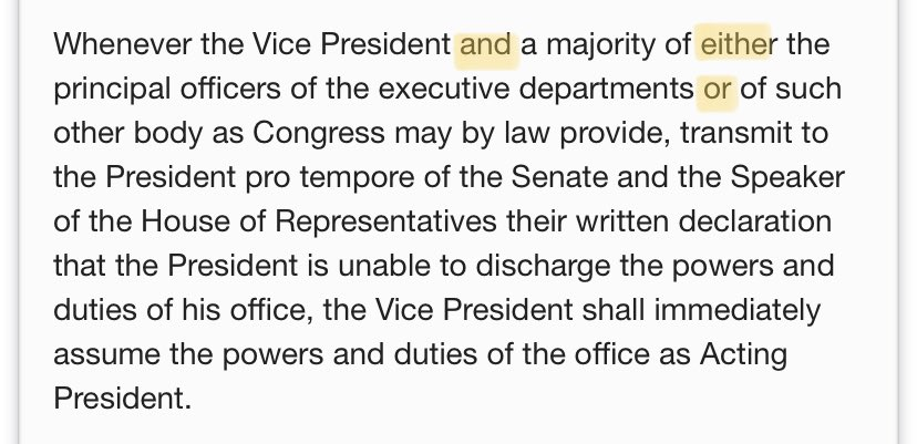 These are the words @SpeakerPelosi should have highlighted in Amendment 25, Section 4. Can't take action without the Vice President, Nancy. Doesn't matter what your little coup bill says. https://t.co/UNroNRXLOs
