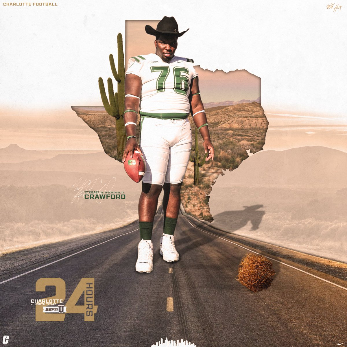 𝗕𝗜𝗚 𝗧𝗘𝗫 The team's lone Texas star, Ty'Kieast Crawford, returns home ⭐️ The Niners and North Texas meet Saturday at 8 p.m. ET. ESPNU and @730TheGame 🤙 #PEEP • #GOLDstandard