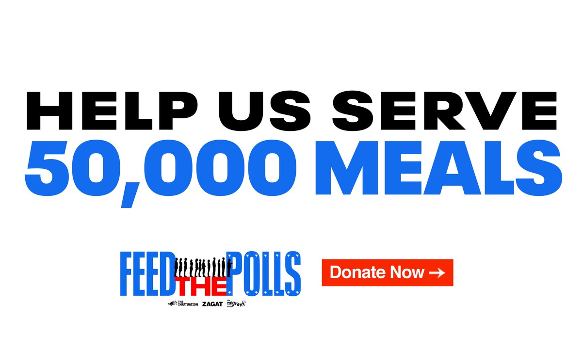 We've teamed up with non-profit organization @migrantkitchen to #FeedThePolls, and our goal is simple: raise money to serve 50,000 meals to food insecure voters on Election Day. Every $10 counts. Donate now at .