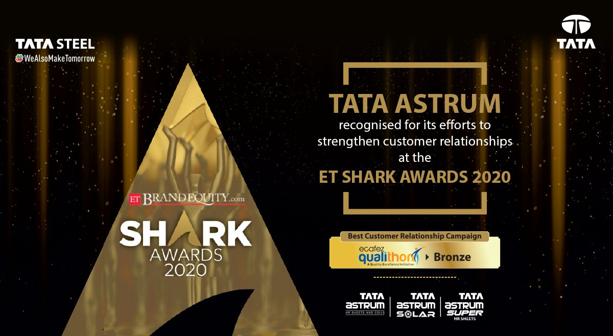 Tata Astrum, our brand of hot rolled steel products, has been recognised at the ET Shark Awards 2020 for its unique customer relationship campaign 'Ecafez Qualithon' to partner with the customers on their quality awareness journey.  #TataSteel #WeAlsoMakeTomorrow #TataAstrum https://t.co/LQ0TionxIs