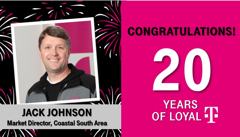 Join me in congratulating our very own @jackhjohnson on his T-Day today! Thank you for 20 years of passion, dedication, leadership and loyalty. We appreciate YOU and all you do for Atlanta. Cheers to many more years breaking the rules of wireless! 🥳 #southneversettles