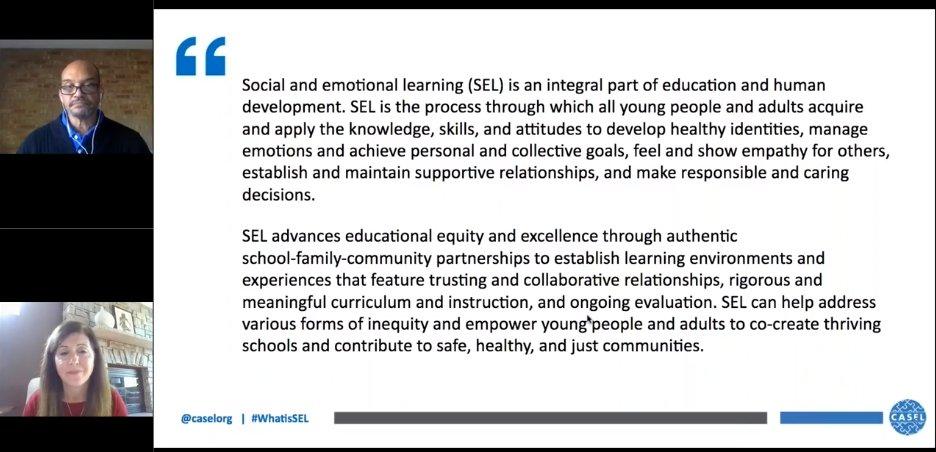 In today's webinar: CASEL's new definition of SEL:
