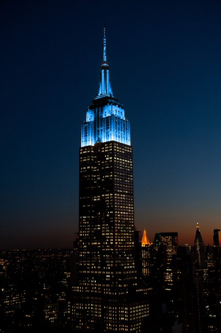 Happy Birthday from Nyc. Lit up in honor of John Lennon.