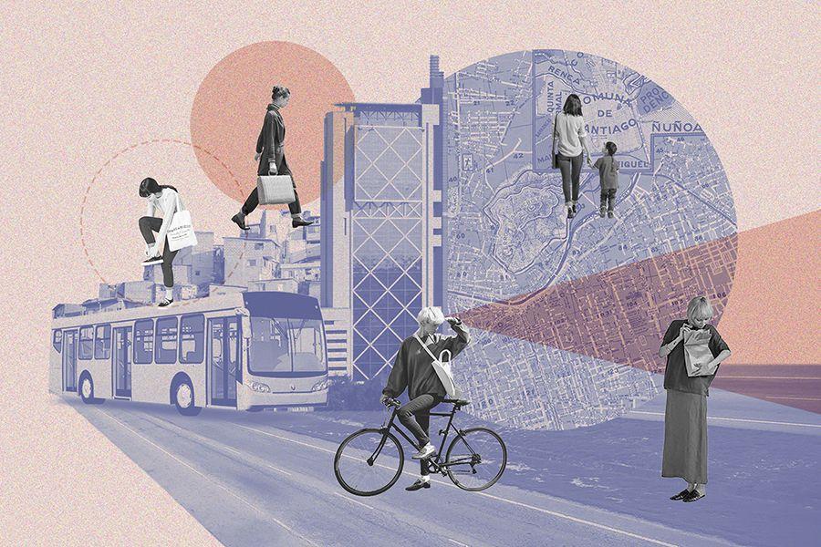 Collage que muestra distintas mujeres en la ciudad. Se ve una mujer en bicicleta, otras caminando, otra con un niño, y otra abrochándose un zapato. Se ve también un bus del Transantiago y el edificio Telefónica. ciudades pensadas por y para mujeres