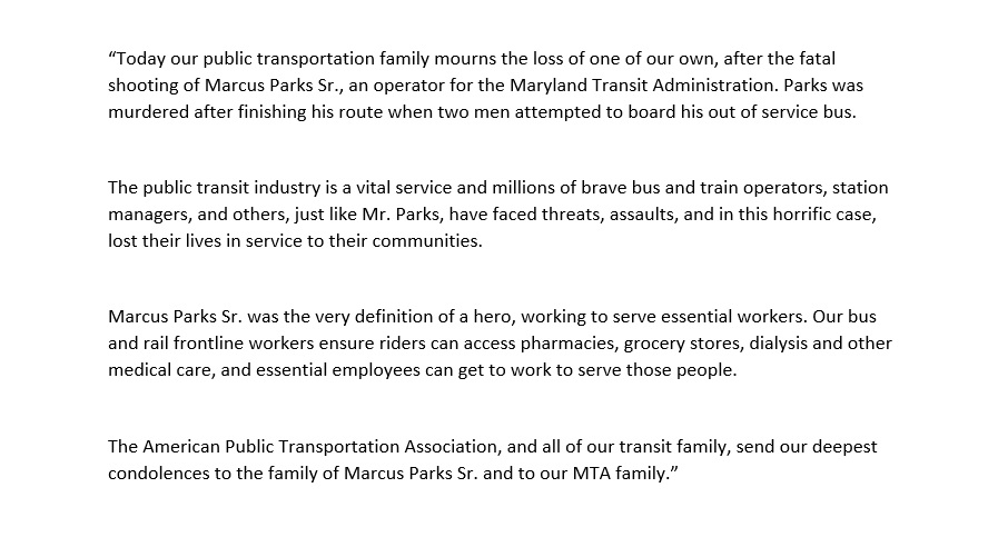 Apta On Twitter A Statement By Apta President And Ceo Paul Skoutelas On The Murder Today Of Marcus Parks Sr A Transit Operator For Mtamaryland Https T Co Ikvtng1ji6 In 2019, parks got married to his long time girlfriend carolina hidalgo. twitter