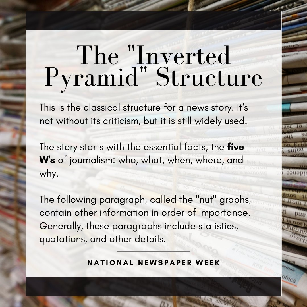 You've probably heard of the 5 W's but do you know about the ways that journalists implement them into their writing structure? #NationalNewspaperWeek https://t.co/xqYYMNKyuW