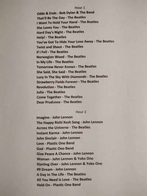 Playlist for 10/09/2020 Happy Birthday John Lennon!