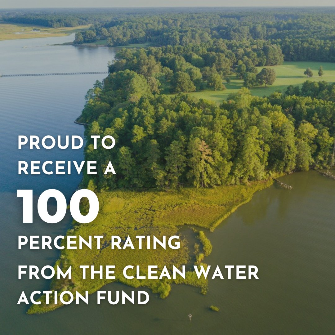 Thrilled to earn a perfect score from the @cleanh2oaction for my voting record over the past year. #MDs environmental health is critical to our states economy, culture + way of life, + I will always fight to protect it. Check out the scorecard here: bit.ly/33IecWq