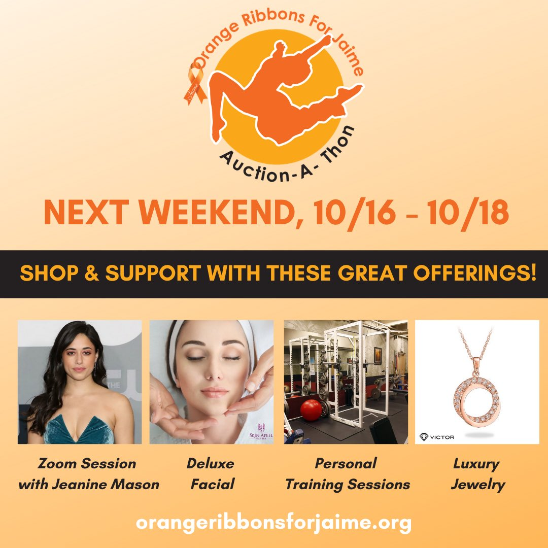 Looking for a fun way to give back? We have so many exciting experiences, products, and more that will be available for purchase next weekend 10/16-10/18 at https://t.co/hKC4raM8lh! Proceeds will help us continue our mission and support our programs. 🧡   #OrangeRibbonsForJaime https://t.co/NdSd4FTS3m