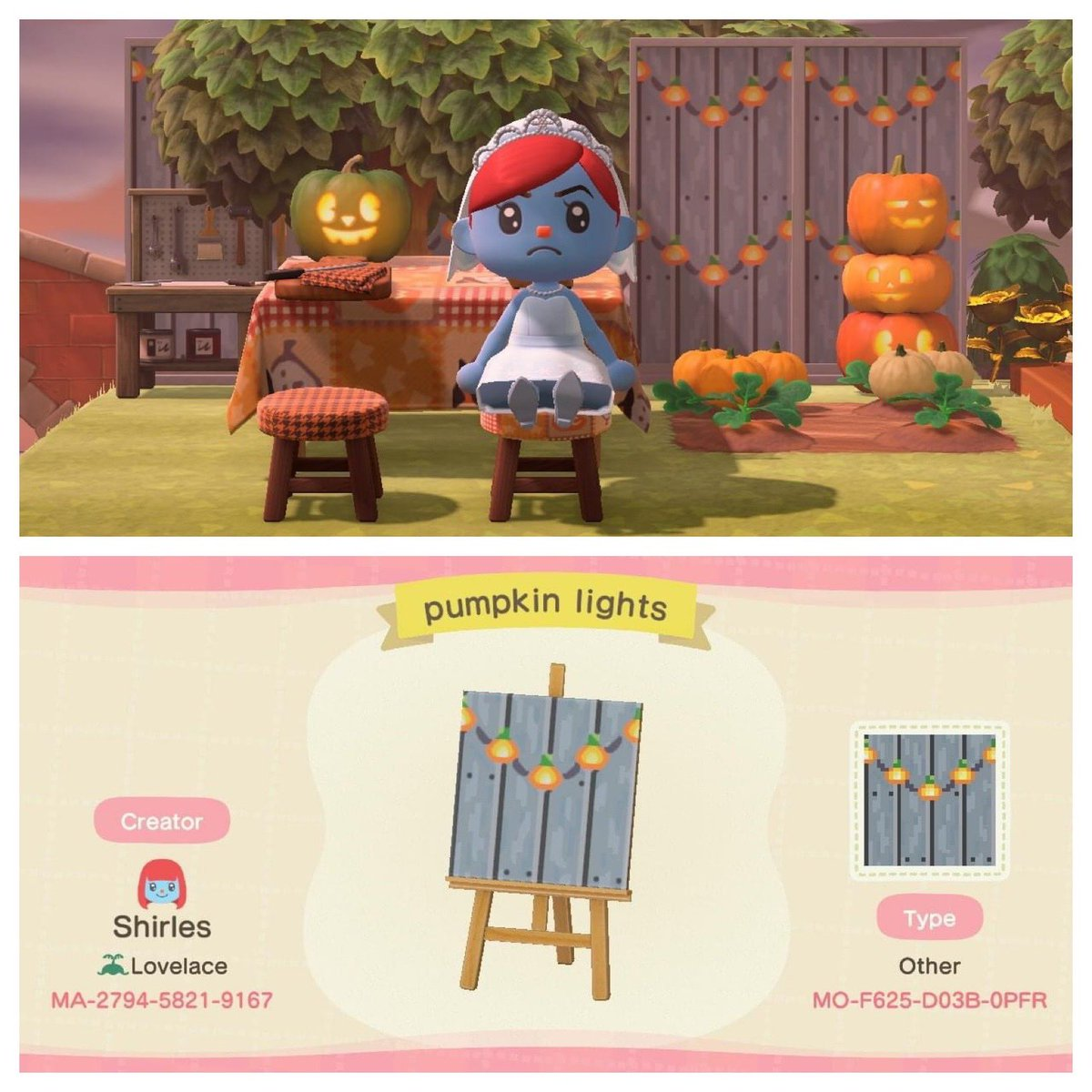 I wanted a seasonal version of these lovely fairy lights by Hailey from Lansdale. Here is my pumpkin version and the original OP version.  #どうぶつの森 #マイデザイン #あつまれどうぶつの森 #acnh #ACNHDesign #acnhhalloween