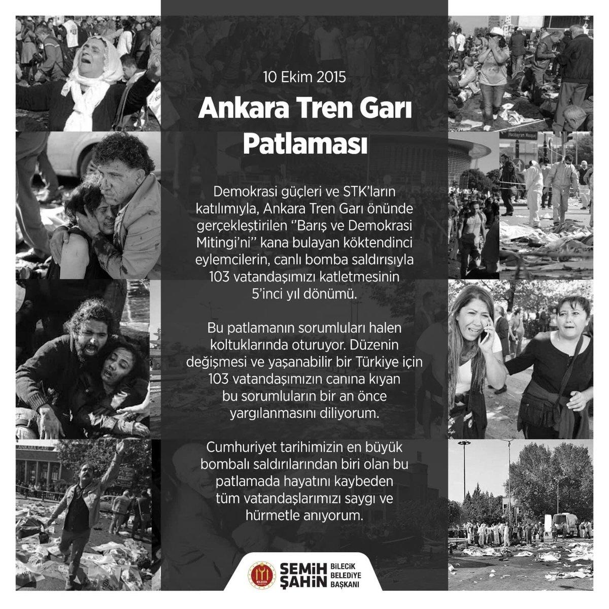 Ankara Tren Garı önünde gerçekleştirilen ''Barış ve Demokrasi Mitingi'nde 103 vatandaşımızın katledilmesinin 5'inci yıl dönümü.   Cumhuriyet tarihimizin en büyük bombalı saldırılarından biri olan bu patlamanın tüm kurbanlarını saygı ve hürmetle anıyoruz.  #10EkimiUnutmaUnutturma https://t.co/U6mgo9GNX6